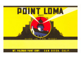 Paint Label, Point Loma, with Cabrillo Lighthouse, San Diego