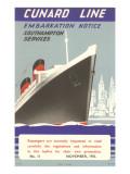 Cunard Line Embarkation Notice