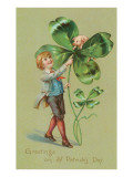 Greetings on St. Patricks Day, Pig and Giant Shamrock