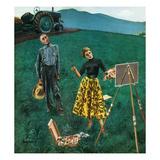 """""Farmer and Female Artist in Field"""", June 6, 1953"