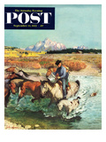 """""Herding Horses"""" Saturday Evening Post Cover, September 13, 1952"
