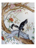 Magpies Amongst Red Peonies and Prunus Branches, a Detail from a Fine Enamel Famille Rose Vase