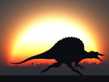 A Silhouetted Spinosaurus Sprinting Against a Setting Set at the End of a Jurassic Day