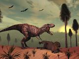 A Triceratops Falls Victim to Tyrannosaurus Rex