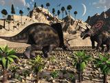 A Pair of Torosaurus Dinosaurs Fight Each Other