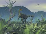 A Colorful Adult Male Dilophosaurus Explores a Hilltop