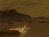 Artist's Concept of a Robotic Probe Exploring a Frigid Ethane Lake on Titan