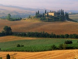 Italy, Tuscany, Val d'Orcia, fields at sunrise
