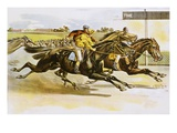 Late 19th Century Poster of Racehorses Crossing the Finish Line