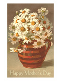 Bouquet of Daisies in Earthenware Pitcher