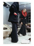 Vogue - September 1972 - Woman Tries on a Pierre Cardin Fur Coat
