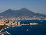 Cityscape Including Castel Dell Ovo and Mount Vesuvius, Naples, Campania, Italy, Europe
