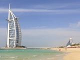 Burj Al Arab and Jumeirah Beach Hotels, Jumeirah Beach, Dubai, United Arab Emirates, Middle East