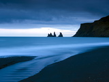 Twilight View Towards Rock Stacks at Reynisdrangar Off the Coast at Vik, South Iceland, Iceland