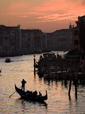 A Gondola on the Grand Canal in Venice at Sunset