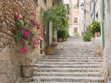 Flight of Steps in the Heart of the Village Fornalutx Near Soller, Mallorca, Balearic Islands, Spain, Europe