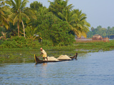 Small Boat on the Backwaters, Allepey, Kerala, India, Asia