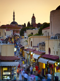 Elevated View over Mosque and Old Town, Rhodes Town, Rhodes, Greece