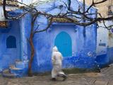 Man Wearing a Djellaba on the Street, Chefchaouen, Morocco