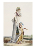 Young Mother and Child, 1800 (Coloured Engraving)