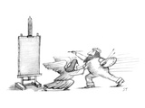 Angelic-looking muse holding back artist from painting. - New Yorker Cartoon