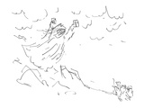 Moses coming down from mountain holding two floppy disks. - Cartoon
