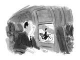 Man in plane looks out the window to see the wicked witch from 'The Wizard? - New Yorker Cartoon