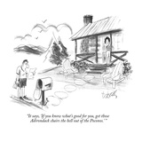 """""It says, 'If you know what's good for you, get those Adirondack chairs th?"""" - New Yorker Cartoon"