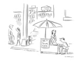 Sign on street vendor stand reads, 'Vet Your Date.' - New Yorker Cartoon