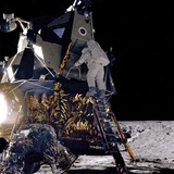 Apollo 12 Astronaut Alan Bean Starts Down Ladder of Lunar Module 'Intrepid'