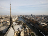 View from Notre Dame Cathedral Roof, Paris, France, Europe