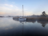 A Misty Morning in the Norfolk Broads at Horsey Mere, Norfolk, England, United Kingdom, Europe