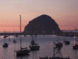 Boats Anchored at Sunset Near Morro Rock