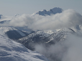 Mountain Peaks and Clouds Viewed from the Summit of Whistler Peak