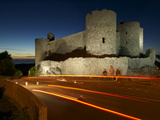 Blurred Headlights in Front of Harlech Castle