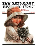 """""Girl and Her Cat,"""" Saturday Evening Post Cover, May 10, 1924"