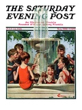 """""Swimming in Fountain,"""" Saturday Evening Post Cover, July 24, 1926"