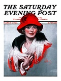 """""""""""Woman in Red Hat,"""""""" Saturday Evening Post Cover, March 3, 1923"""