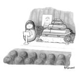 A babushka doll gives the eulogy for another babushka. - New Yorker Cartoon