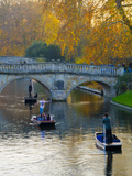 UK, England, Cambridge, the Backs, Clare and King's College Bridges over River Cam in Autumn