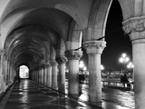 Columns of the Doge's Palace at Night, Venice, Veneto Region, Italy