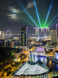 Singapore, Elevated View over the Entertainment District of Clarke Quay, the Singapore River and City Skyline