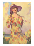 Lady in Spotted Flapper Dress