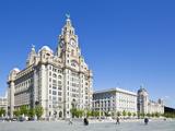 Three Graces Buildings, Pierhead, UNESCO Site, Liverpool, Merseyside, England, UK