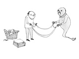 A man and a genie work together to fold laundry. - New Yorker Cartoon