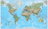 World Physical 1:30 Wall Map, Laminated Educational Poster