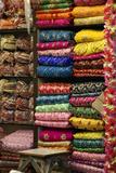 Colorful Sari Shop in Old Delhi Market, Delhi, India