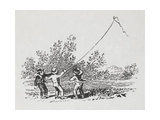 Engraving Of Three Boys Playing With a Kite