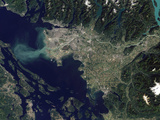 Satellite View of the Frasier River, British Columbia, Canada