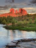 USA, Arizona, Sedona, Cathedral Rock Glowing at Sunset
